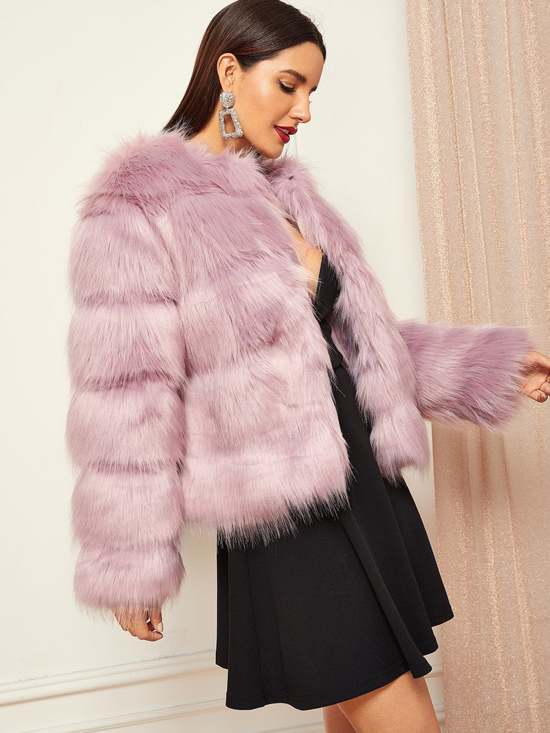 Open Front Faux Fur Coat