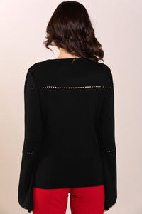 Flared Sleeves Black Tricot Sweater