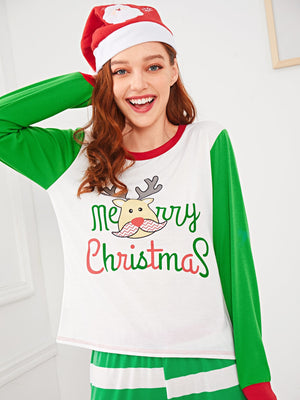 Christmas Deer Print Striped Pajama Set