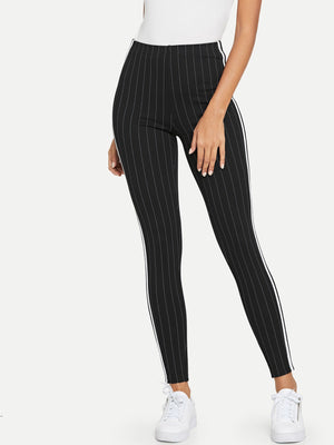 Contrast Tape Side Striped Leggings