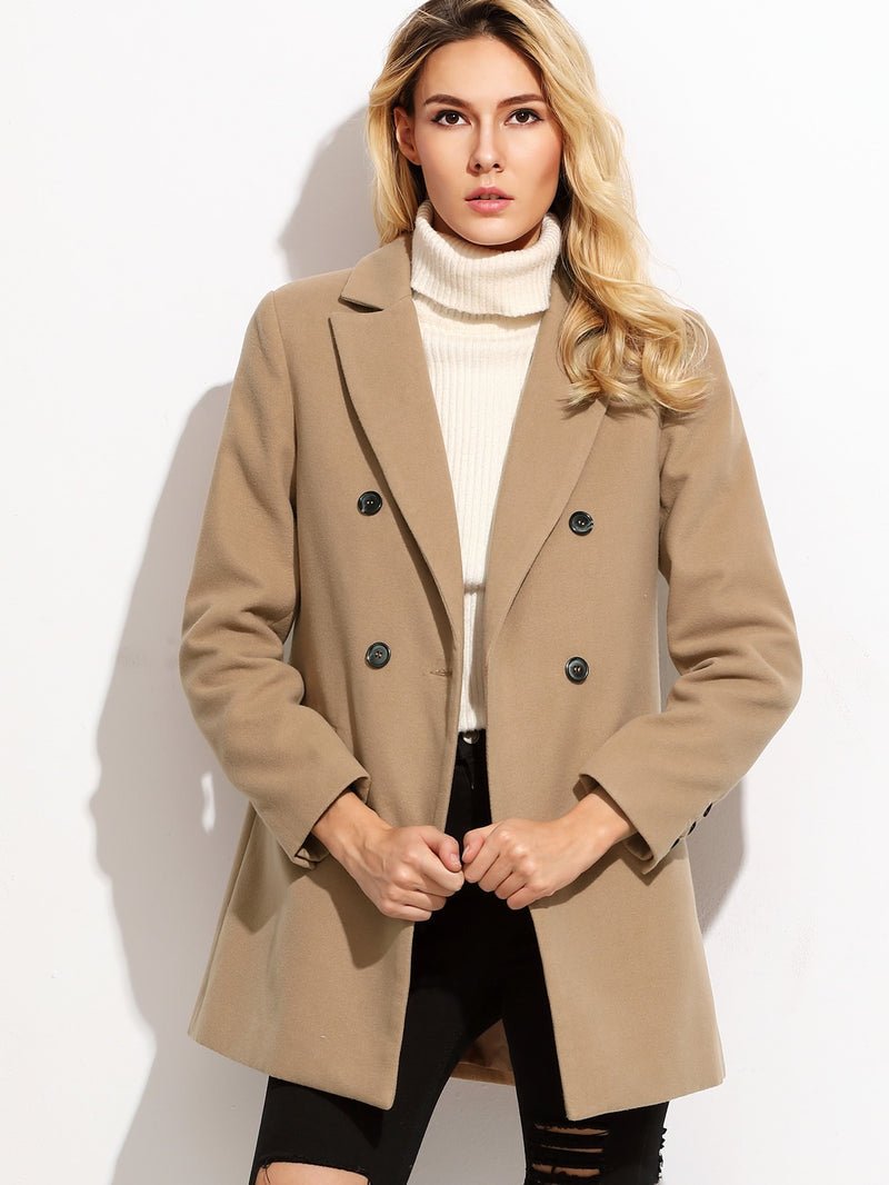 Camel Double Breasted Coat With Welt Pocket