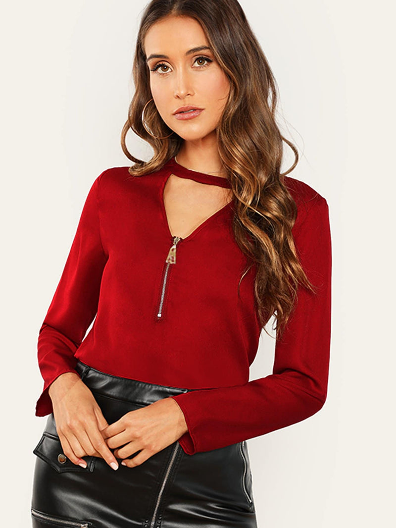 Zip Front V Neck Top