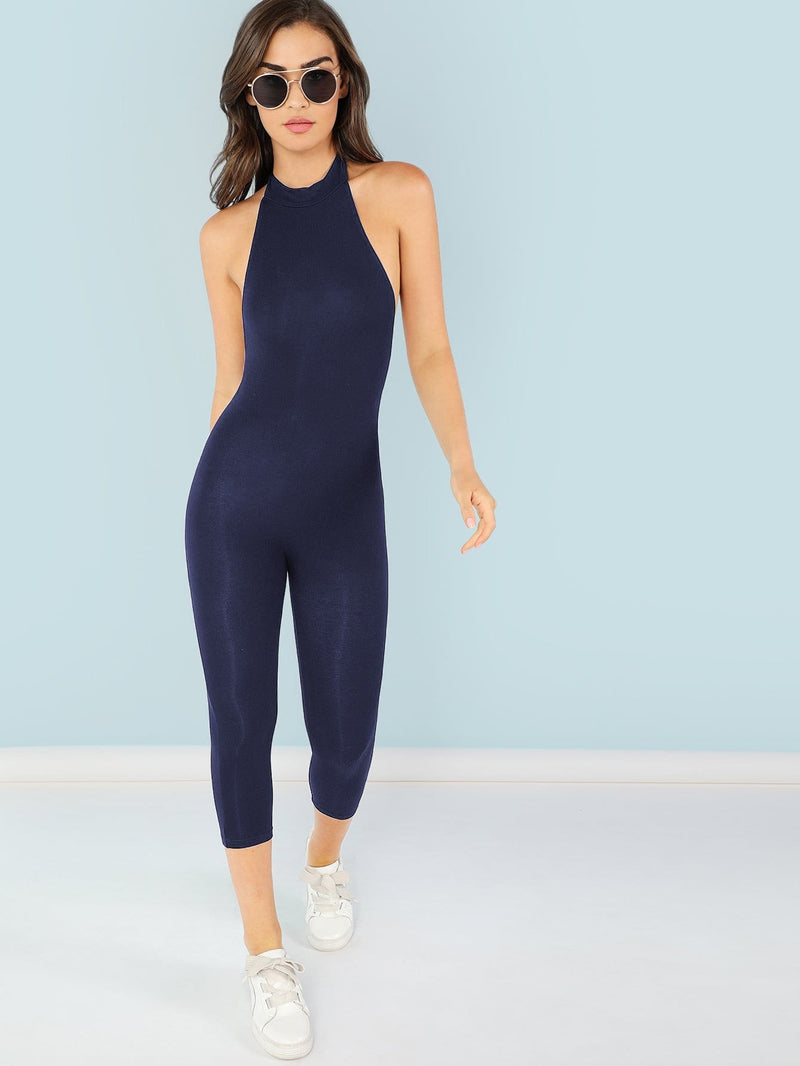 Mock Neck Form Fitting Jumpsuit
