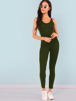 Open Shoulder Striped Side Skinny Jumpsuit