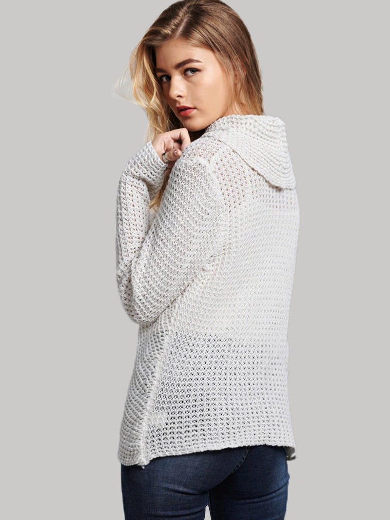Button Front High Neck Overlap Sweater