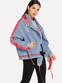 Ripped Letter Ribbon Raw Hem Denim Jacket