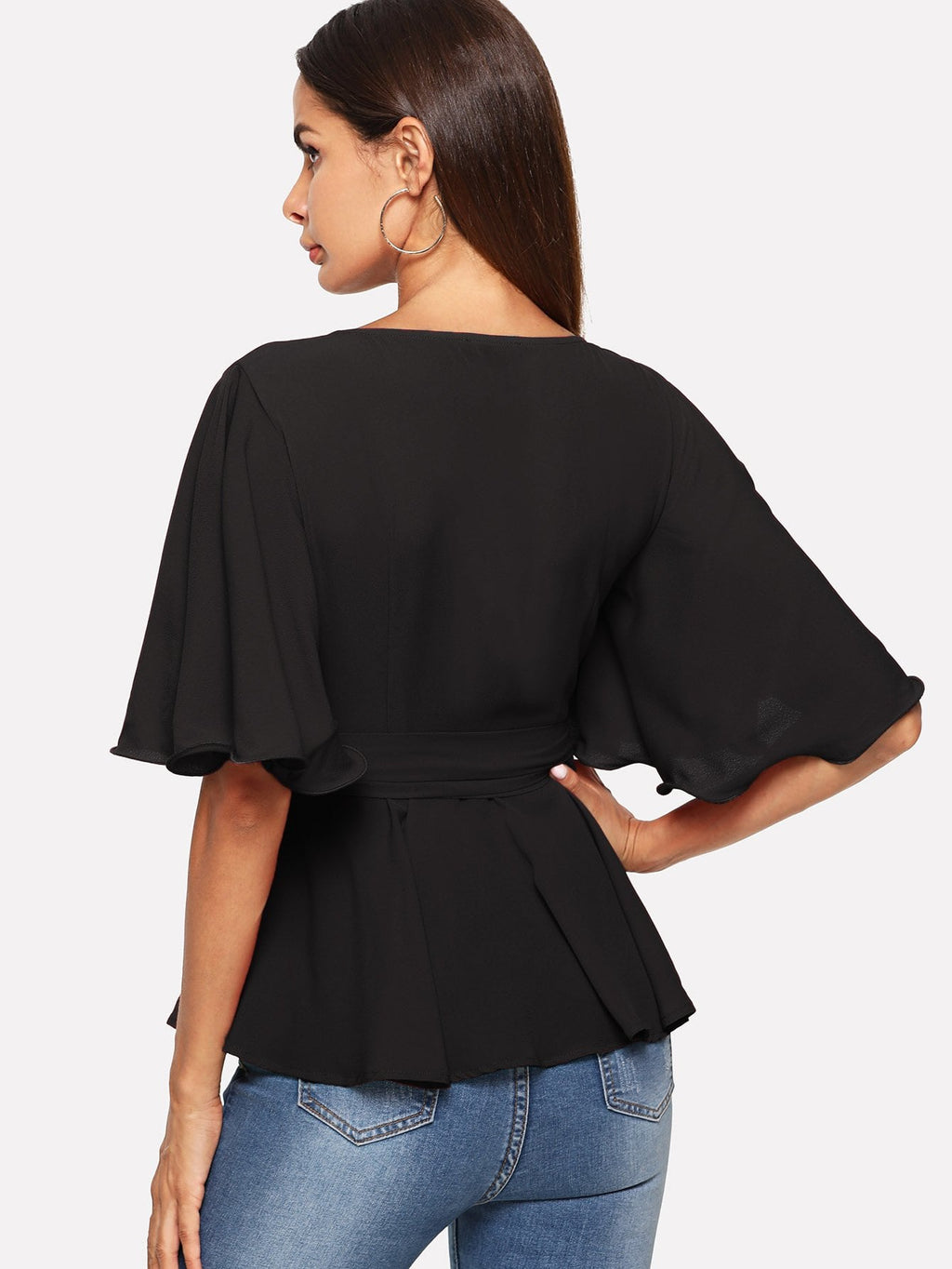 Waist Belted Pleated Wrap Bell Sleeve Top