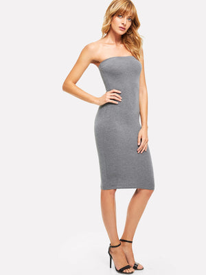 Form Fitting Solid Bandeau Dress