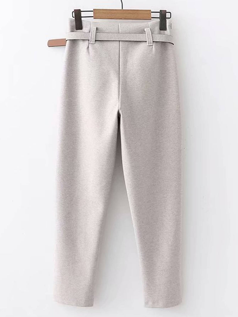 Self Tie Solid Pants