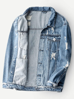 Men Ripped Denim Jacket