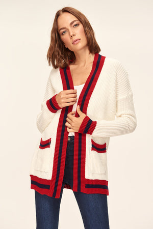 Ecru Pocketed Tricot Cardigan