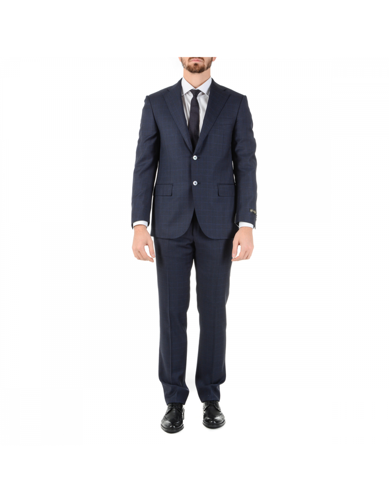Corneliani Mens Suit Long Sleeves Dark Blue Super 110's