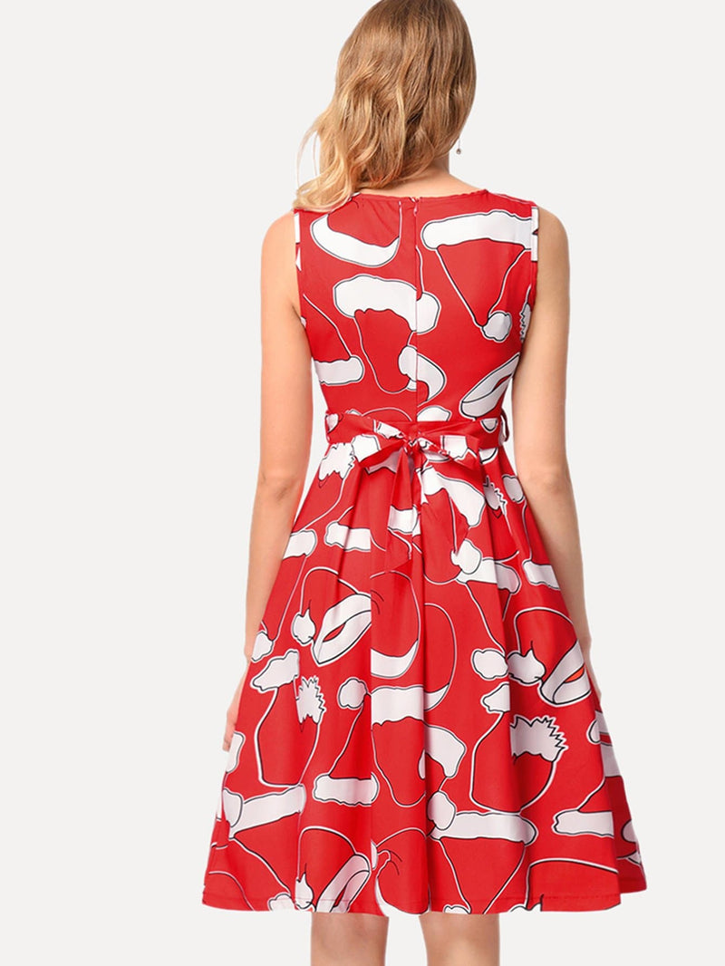 Christmas Hat Print Dress