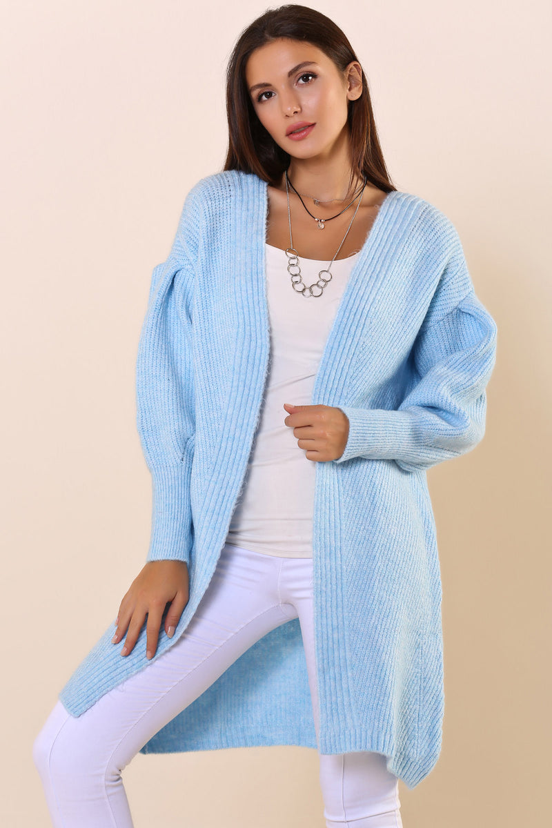 Balloon Sleeves Baby Blue Cardigan