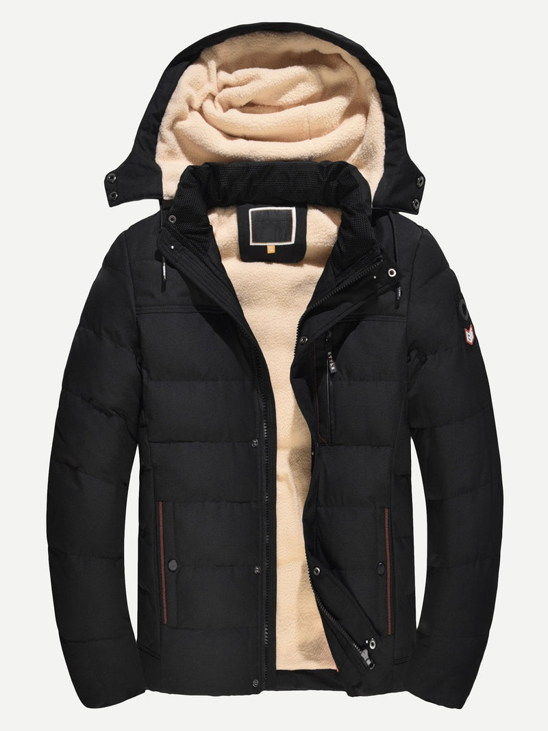 Men Fleece Lined Detachable Hooded Puffer Coat