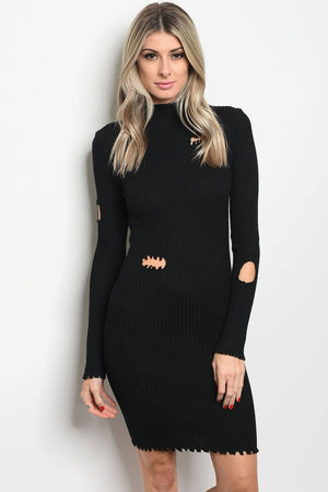 Fashion Long Sleeve Ribbed Knit Fitted Bodycon Dress