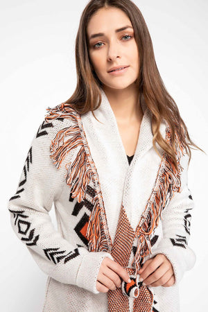 Fringed Banded Long Tricot Cardigan