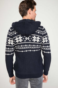Jacquard Hooded Cardigan