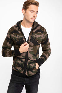 Camouflage Patterned Cardigan