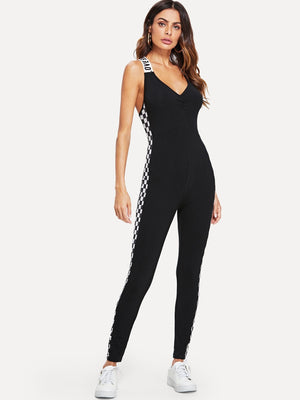 Crisscross Back Letter Plaid Jumpsuit
