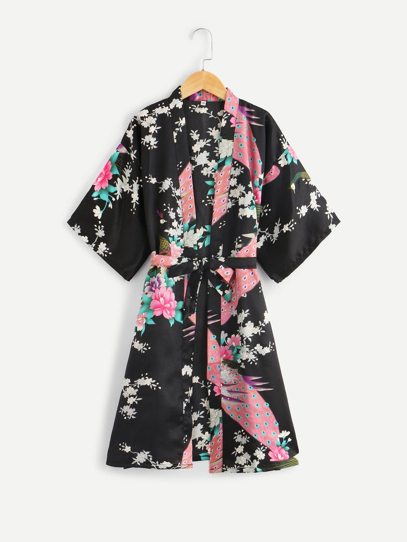 Christmas Girls Floral & Peacock Print Wrap Robe