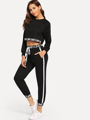 Letter Print Crop Top With Drawstring Pants