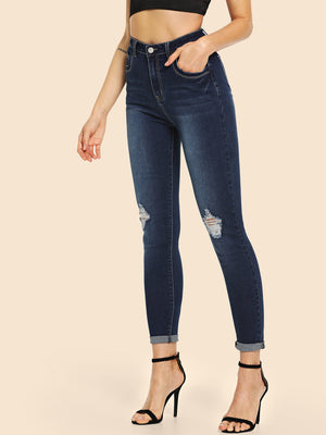 Ripped Detail Skinny Jeans