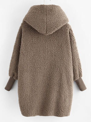 Hooded Faux Fur Teddy Coat