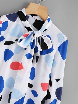 Abstract Print Bow Tie Neck Shirt
