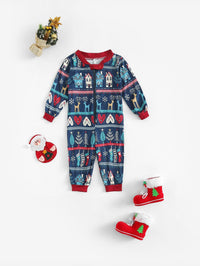 Christmas Kids Mixed Print Jumpsuit