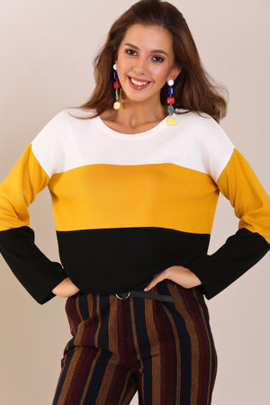 Turtleneck Color Patterned Tricot Sweater