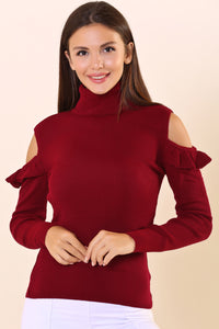 Claret Red Open Shoulder Frilled Tricot Sweater