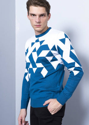 Men's Crew Neck Geometric Patterned Petrol Pullover