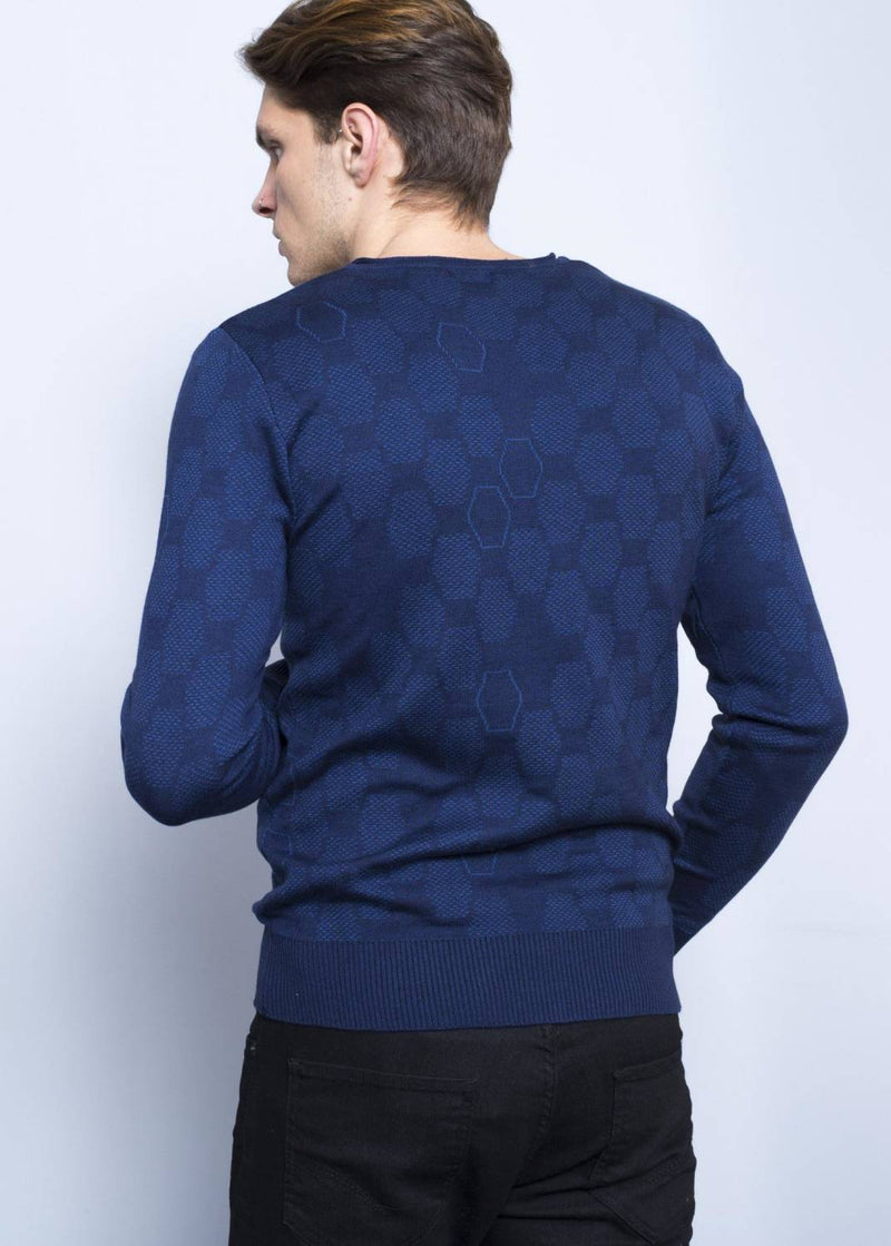 Men's Patterned Slim Fit Navy Blue Pullover