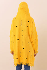 Hooded Long Yellow Cardigan