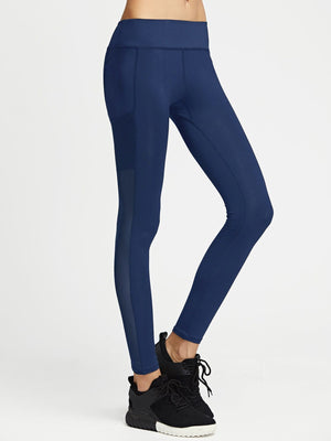 Contrast Mesh Solid Leggings