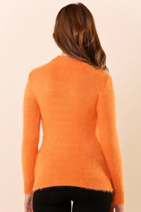 Open Collar Orange Tricot Sweater