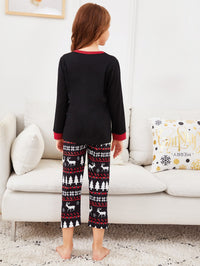 Christmas Kids Hat Print Pajama Set