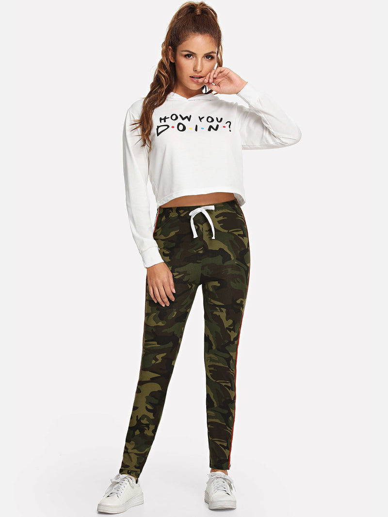 Camouflage Drawstring Waist Tape Panel Side Leggings