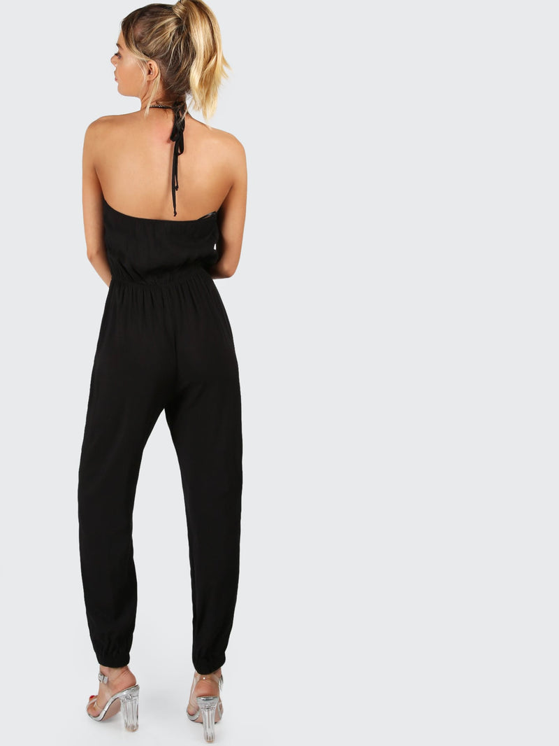 Surplice Self Tie Halter Jumpsuit