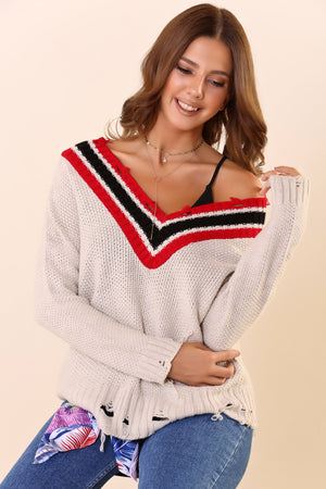 Wide V-neck Ripped Beige Red Tricot Sweater