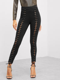 Grommet Lace Up Front Skinny Leggings