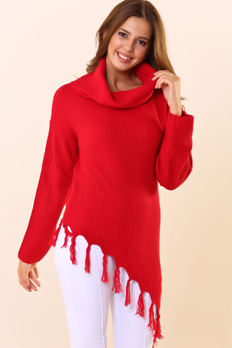 Fringed Hem Red Tricot Sweater