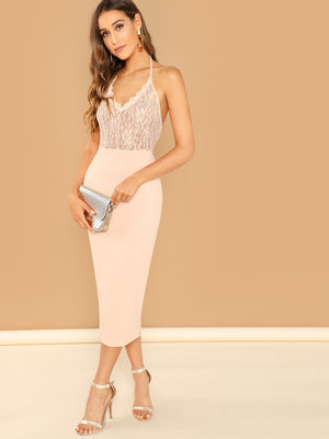 Eyelash Lace Bodice Bodycon Halter Dress