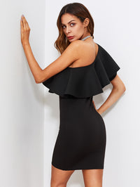 Flounce One Shoulder Form Fitting Dress