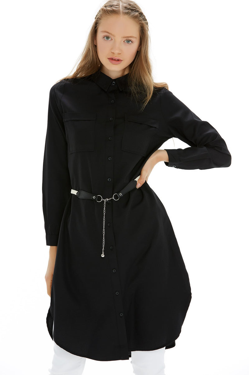 Women's Pocketed Black Tunic