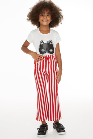 Kid's Striped Flared Red Pants