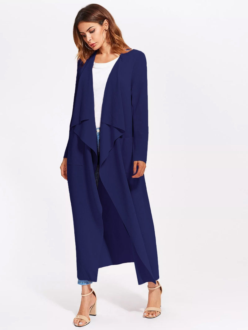 Patch Pocket Self Belted Waterfall Wrap Coat