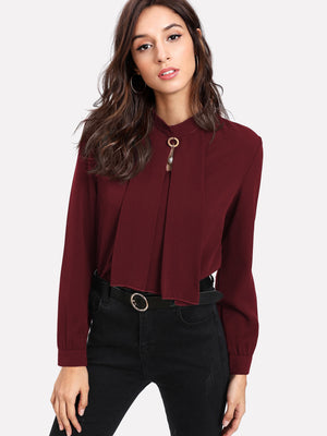 Pearl Detail Button Keyhole Back Blouse