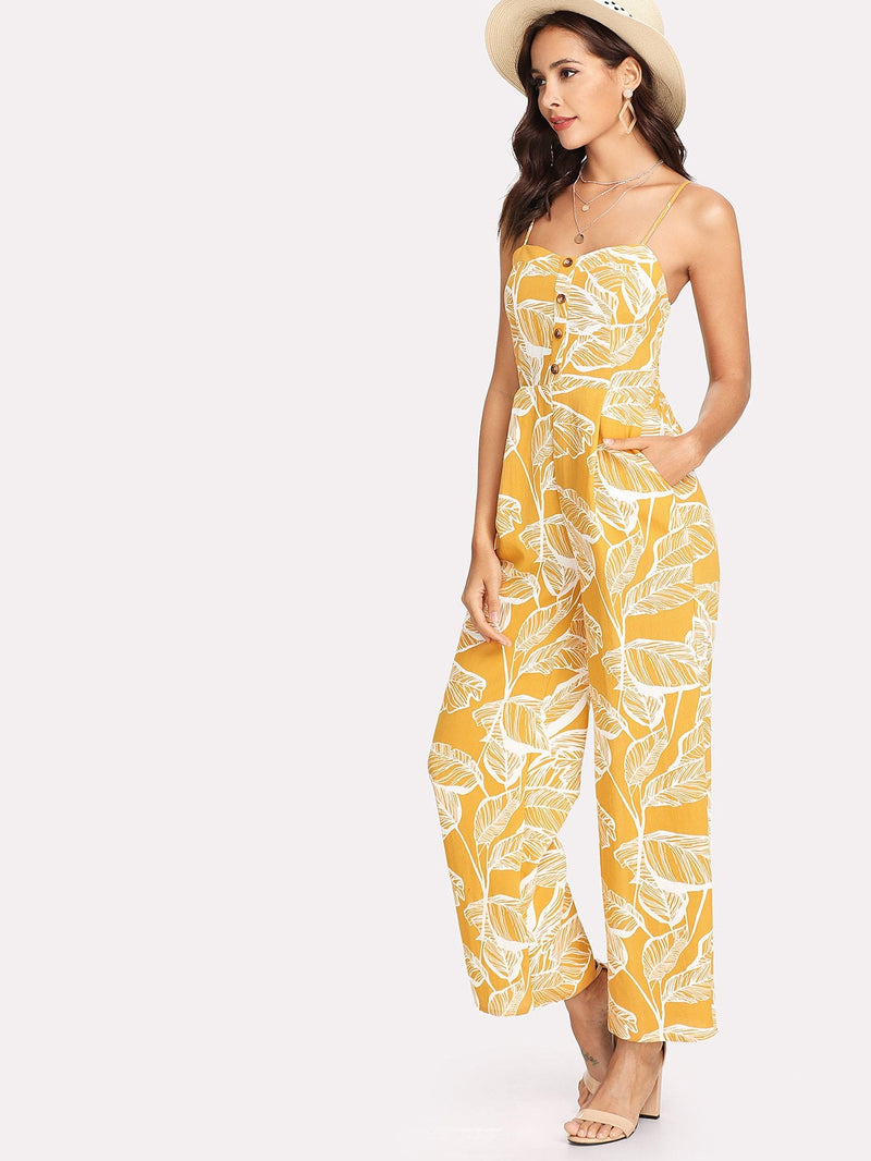 Palm Leaf Print Shirred Back Cami Palazzo Jumpsuit